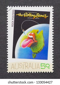 AUSTRALIA - CIRCA 2006: a postage stamp printed in Australia showing a image of The Rolling Stones 1973 australian tour poster, circa 2006.