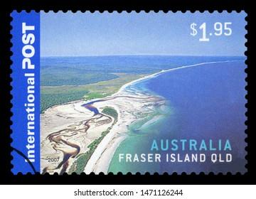 AUSTRALIA - CIRCA 2007: A stamp printed in Australia shows an aerial view of Fraser Island, Queensland, circa 2007.
