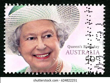 AUSTRALIA - CIRCA 2007: A used postage stamp from Australia, depicting a portrait of Queen Elizabeth II, commemorating her birthday, circa 2007.