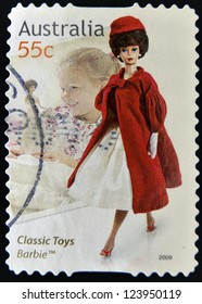 AUSTRALIA - CIRCA 2009: A stamp printed in australia dedicated to classic toys, shows Barbie, circa 2009