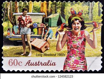AUSTRALIA - CIRCA 2010: A stamp printed in australia shows long weekend 1960s, circa 2010