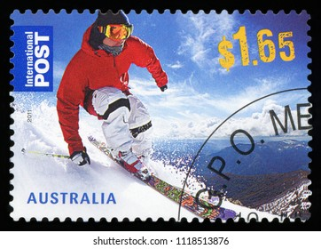 AUSTRALIA - CIRCA 2011:A Cancelled postage stamp from Australia illustrating Skiiing in Australia , issued in 2011.
