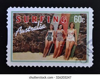 AUSTRALIA - CIRCA 2013: A stamp printed in Australia dedicated to Surfing, shows Beach Beauties, circa 2013