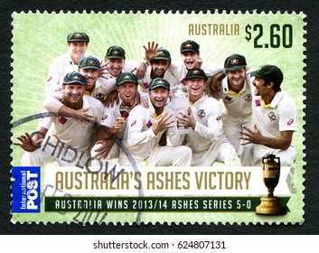 AUSTRALIA - CIRCA 2014: A used postage stamp from Australia, commemorating the 2013-2014 Ashes series win by the Australian cricket team, circa 2014.