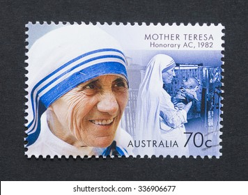 AUSTRALIA - CIRCA 2015: a postage stamp printed in Australia showing an image of Nobel Peace Prize winner Mother Teresa, circa 2015.
