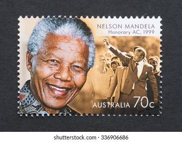 AUSTRALIA - CIRCA 2015: postage stamp printed in Australia showing an image of Nobel Peace prize winner Nelson Mandela, circa 2015.