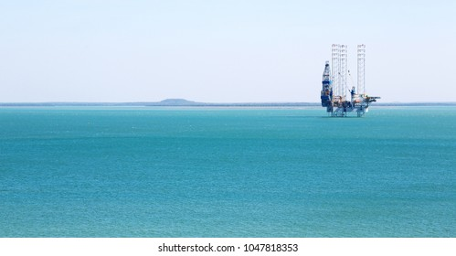 in  australia  the concept of industrial with an off shore platform in the clear ocean
