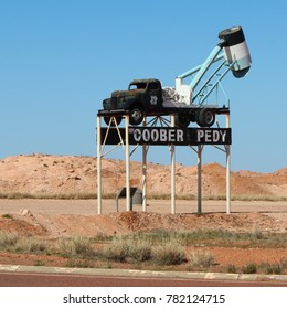 AUSTRALIA, COOBER PEDY, AUGUST 11, 2016: An old mining truck is still used as town sign for the opal town Coober Pedy.