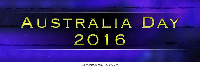 Australia Day 2016 banner yellow text on blue illustration advert