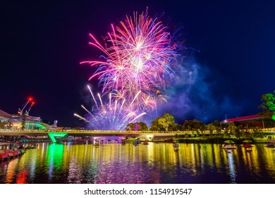 Australia Day fireworks in Park, Adelaide city viewed accross Torrens foot bridge