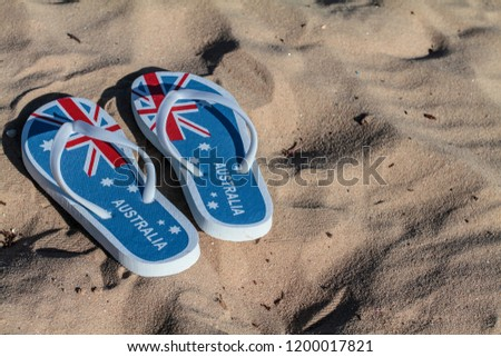 5e673c44b561 Australia Day Flag Thongs Flip Flops Stock Photo (Edit Now ...