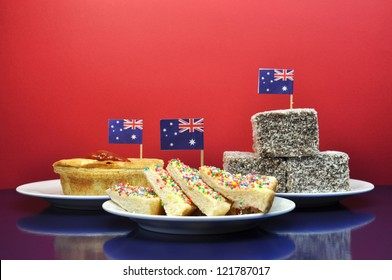 Australia Day January 26, - or Anzac Day - celebrate with traditional Aussie tucker food such as lamingtons, meat pies and tomato sauce, and yummy fairy bread.
