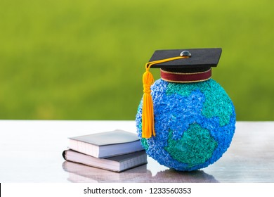 Australia Education knowledge learning study abroad international Ideas. Graduation celebrating cap on model global map, alternative studying world wide, Long distane learning by anywhere anytime.