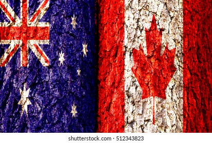 Australia Flag and Canada Flag over crack and grunge wall texture background. Forex AUDCNH concept.