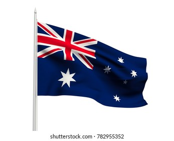 Australia flag floating in the wind with a White sky background. 3D illustration.