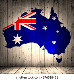 Australia flag map and wood background