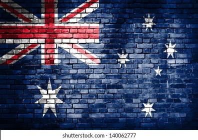 Australia flag on brick wall