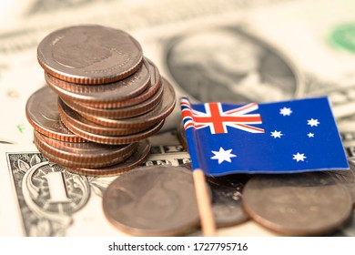 Australia Flag on coins background : Business and finance concept.