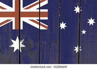 Australia flag on wooden background