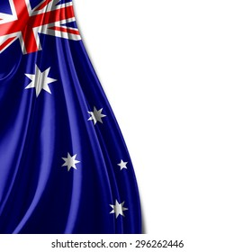Australia flag  of silk with copyspace for your text or images and white background