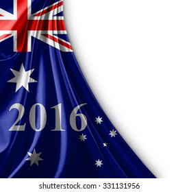 Australia flag of silk ,number 2016 with copyspace for your text or images and white background