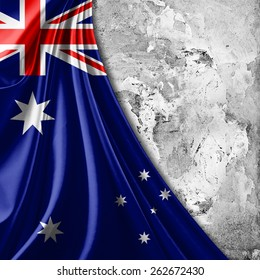 Australia flag and wall background