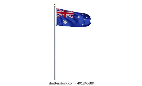 Australia flag waving on white background, long shot, isolated with clipping path mask alpha channel transparency