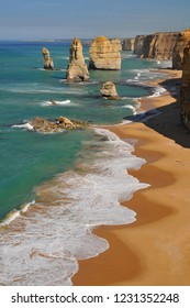 Australia, Great Ocean Road, The Twelve Apostles, collection of limestone stacks off the shore of the Port Campbell National Park, by the Great Ocean Road in Victoria.