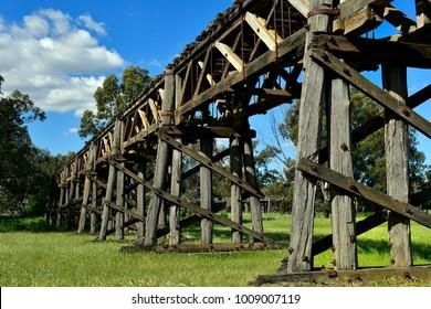 Australia, historic timber railway bridge in Gundagai