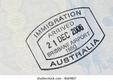 Australia immigration entry stamp passport