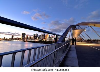 Australia Landscape, Goodwill Bridge and Brisbane skyline at dusk
