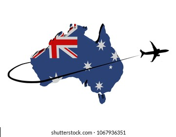 Australia map flag with plane silhouette and swoosh 3d illustration
