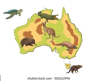 australia map for kids with animals