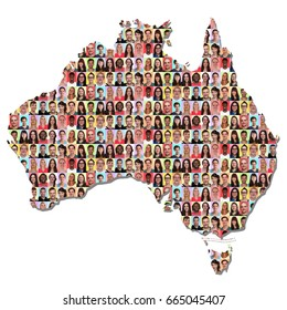 Australia map multicultural group of people integration colorful diversity isolated