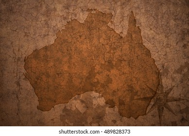 australia map on a old vintage crack paper background