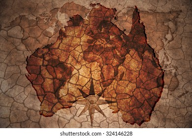 australia map on vintage crack paper background