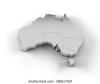 Australia map in silver with states and including a clipping path. High quality 3D illustration.