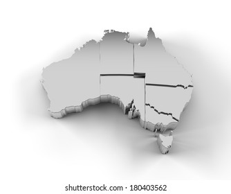 Australia map in silver with states stepwise arranged and including a clipping path. High quality 3D illustration.