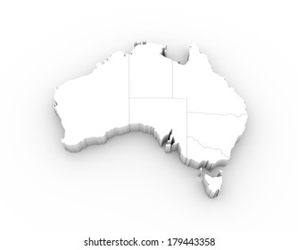 Australia map in white with states and including a clipping path. High quality 3D illustration.