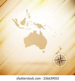 Australia map, wooden design background illustration.