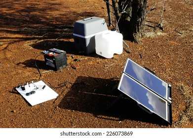 AUSTRALIA - MAY 13: Camping solar panels installed in Australia for recharging batteries and powering a refrigerator travel, May 13, 2007.