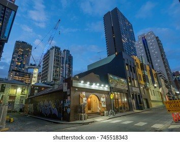 AUSTRALIA, MELBOURNE - AUGUST  11, 2016: Small Side street in Melbourne at night