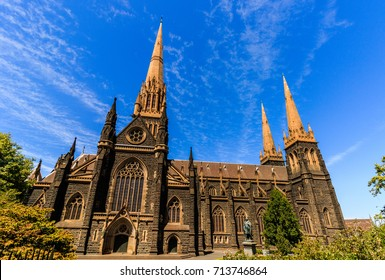 Australia - Melbourne City 2017. Travel photo of Melbourne. St. Patrick's Roman Catholic Cathedral in Melbourne, Victoria, Australia