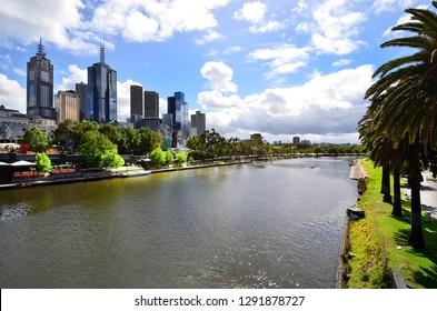 Australia, Melbourne, modern buildings along Yarra river at Riverside Park in the capital of Victoria