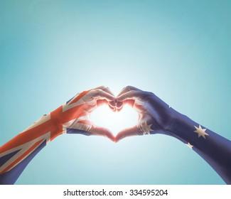 Australia national flag on hands in heart shape