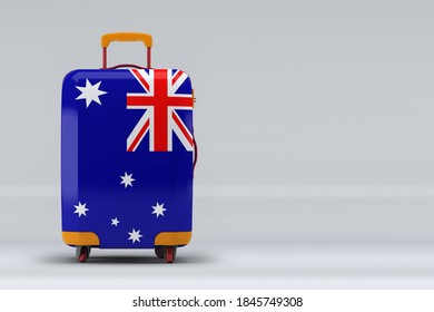 Australia national flag on a stylish suitcases on color background. Space for text. International travel and tourism concept. 3D rendering.