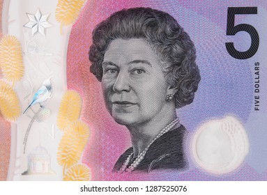 Australia new 5 dollars (2016) bill. Australian money currency note close up. Australia economy.