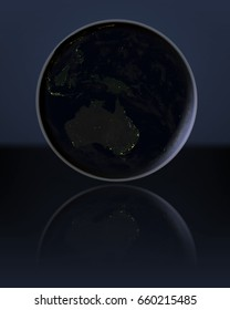 Australia at night on globe with visible city lights. 3D illustration. Elements of this image furnished by NASA.