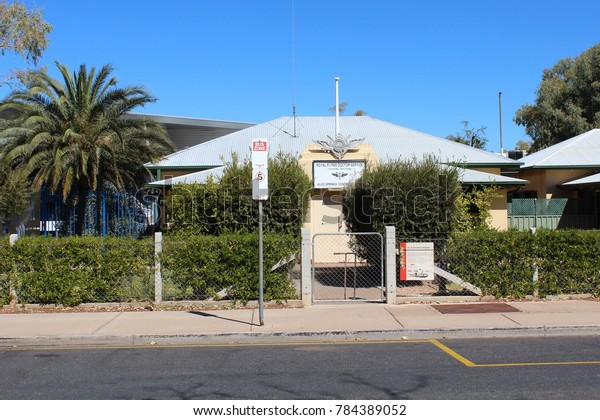 AUSTRALIA, NORTHERN TERRITORY, ALICE SPRINGS, SIMPSON STREET, AUGUST 07, 2016: Entrance to the Royal Flying Doctor Service in Alice Springs, Australia