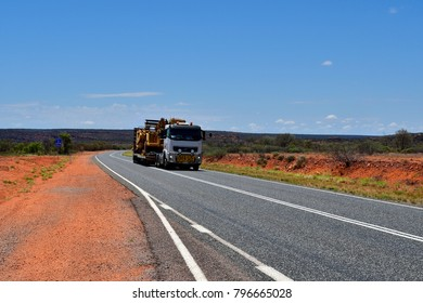 Australia, Northern Territory - November 15, 2017: Heavy oversize transport with truck named Road Train on Stuart Highway